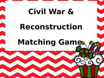 Civil War/Reconstruction Matching Game (Christmas edition)