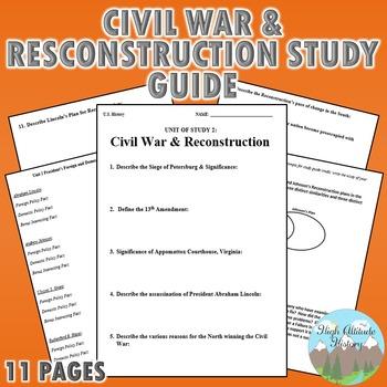 Civil War / Reconstruction Study Guide
