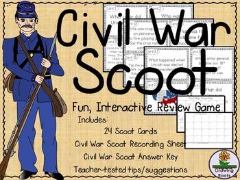 Civil War Task Cards Scoot Game