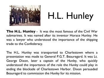 Civil War - Submarines & The H.L. Hunley PowerPoint