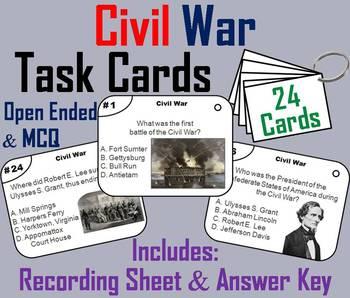 Civil War Task Cards: Abraham Lincoln, Gettysburg, etc.