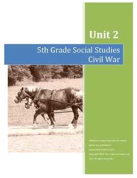Civil War Test AND Completed Study Guide Combo--5th Grade