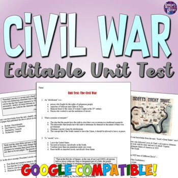 Civil War Test and Answer Key