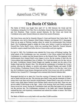 Civil War - The Battle Of Shiloh Content Sheet, Worksheet