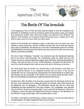 Civil War - The Battle Of The Ironclads Content Sheet, Wor