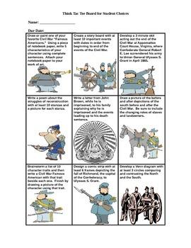 Civil War Think Tac Toe for 5th Grade Social Studies
