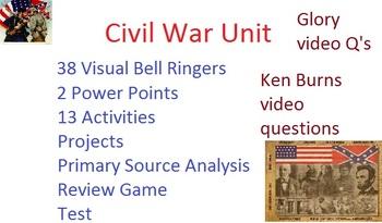 Civil War Unit: Common Core, Games, Primary Sources, Test,