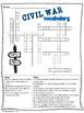 Civil War Vocabulary Crossword Puzzle Activity