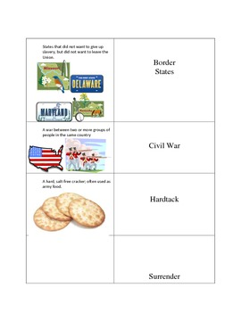 Civil War Vocabulary Flash Cards for Modifications