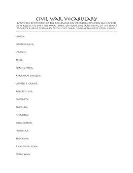 Civil War Vocabulary Worksheet