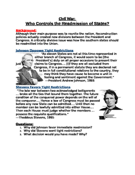 Civil War: Who Controls the Readmission of States? Stevens