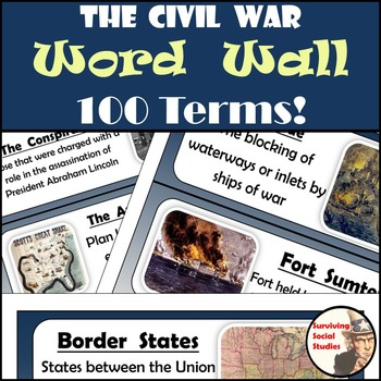 Civil War Word Wall - 100 Terms/People - Definitions & Ima