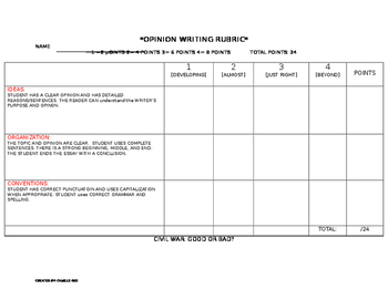 Civil War Writing Prompt and Rubric