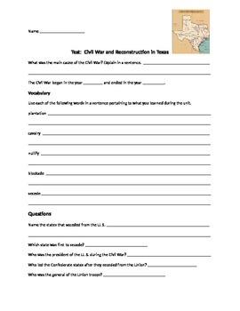 Civil War and Reconst-Texas Test/Vocab/ShortAns/Essay/St G