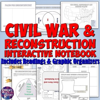Civil War and Reconstruction Interactive Notebook Pages fo