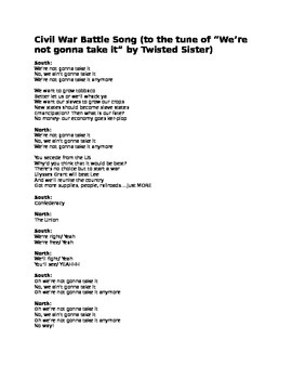 """Civil War parody of """"We're Not Gonna Take It"""" by Twisted Sister"""
