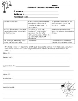 Claims, Evidence, Justification Worksheet