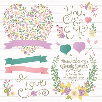 Spring Garden Floral Heart Clipart in Garden Party - Flowe
