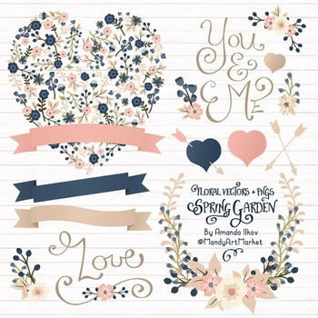 Spring Garden Floral Heart Clipart in Navy and Blush - Flo