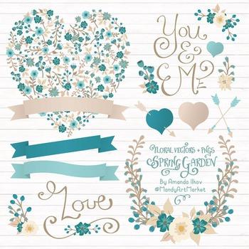Spring Garden Floral Heart Clipart in Vintage Blue - Flowe