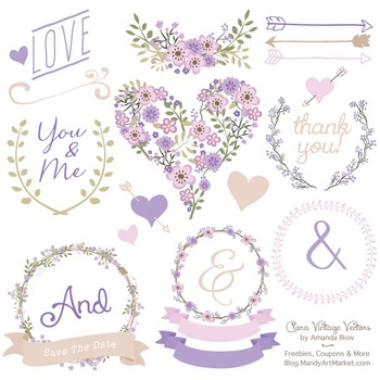 Clara Vintage Floral Wedding Heart Clipart in Lavender