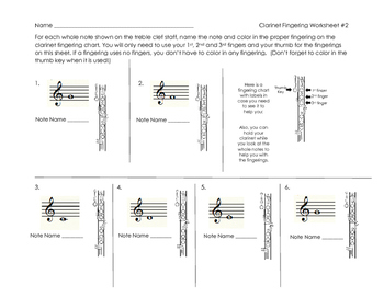 Clarinet Fingering Worksheet 2 for Band Beginners