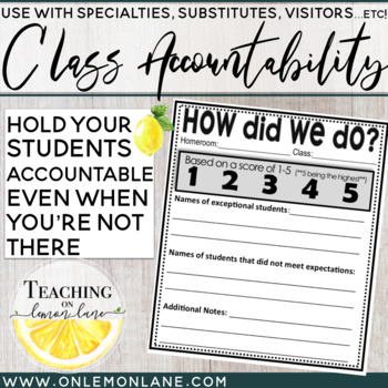 Class Accountability Score Sheet (Use w/Visitors, Specialt