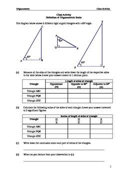 Class Activity Introduction to the trigonometric Ratios (Lite)