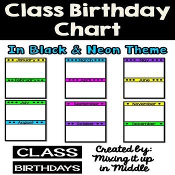 Class Birthday Chart *Black and Neon Theme* EDITABLE