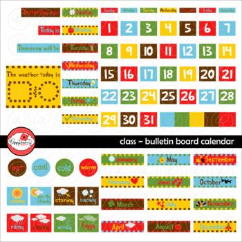 Class Bulletin Board Calendar Clipart by Poppydreamz