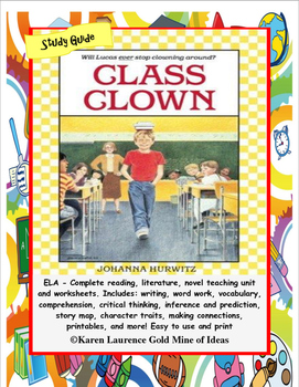 Class Clown by Johanna Hurwitz ELA Novel Reading Literatur
