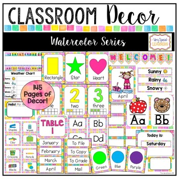 Class Decor Set- Watercolor