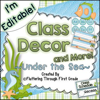 Classroom Decor Editable~ Ocean Theme