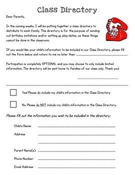 Class Directory - Parent Sign Up Form