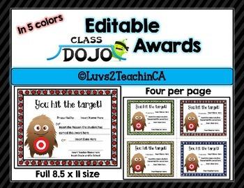 Class Dojo Awards {Editable}