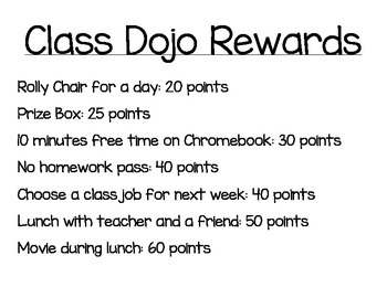 Class Dojo Rewards List