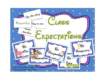 Class Expectations/Rules Banner with Matching Game & Color