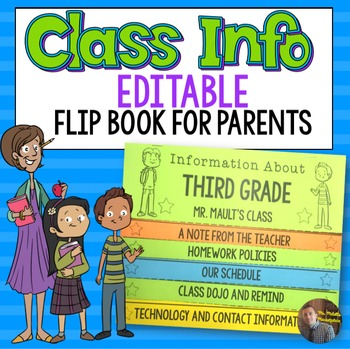 Class Information Editable FlipBook for Parents for Grades 2-6