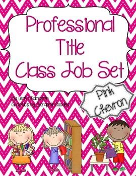 Class Job Set with Professional Titles {Pink Chevron}