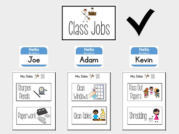 Class Jobs Visual Chart for Special Education