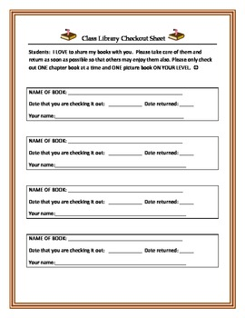 Class Library Checkout Sheet and Class Library Rules