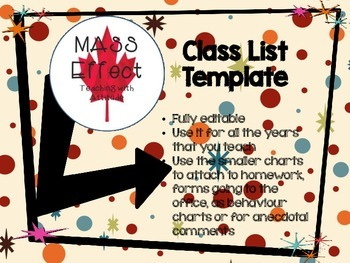 Class List and Collection Slips - Editable