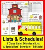 Class Lists & Dismissal List & Specialist Schedule Back to