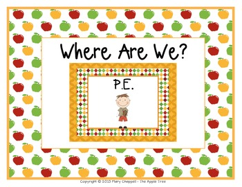 """Class Location Cards """"Where Are We?"""" Apple Theme"""