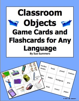 Class Objects Game Cards / Flashcards for Any Language