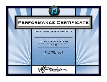 Music Performance Certificate {FREE}