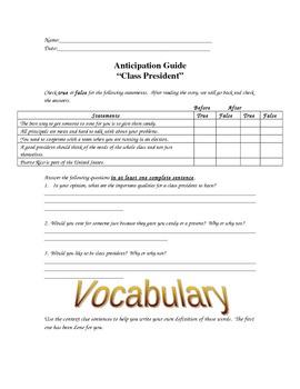 Class President Novel Study Anticipation Guide