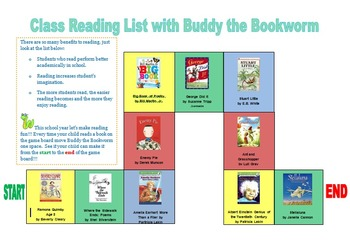 Class Reading List with Buddy the Bookworm Game Board (editable)