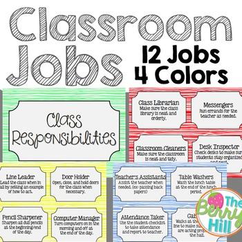 Classroom Jobs Clip Chart - Colored Grain - 4 Sets!