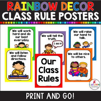 Class Rules Poster Set:  Classic Color Chevron